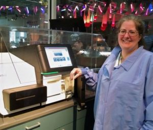 Dr. Marianne Barrier Working at the Illumina MiSeq
