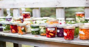 Jars of fermented vegetables