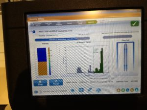 The MiSeq screen shows the stats of the run as it is processed.